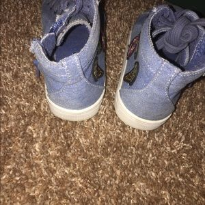 Other - Blue Jean zip up shoe with patches worn 3x